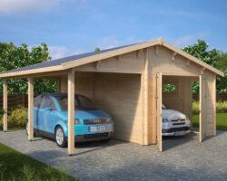 Holzgarage G (Kombi-Modell Garage mit Carport)