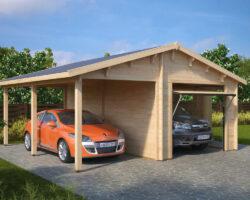 Holzgarage G mit Schwingtor (Kombi-Modell Garage mit Carport)