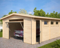 Large Log Garage Hansa B with Up and Over Door