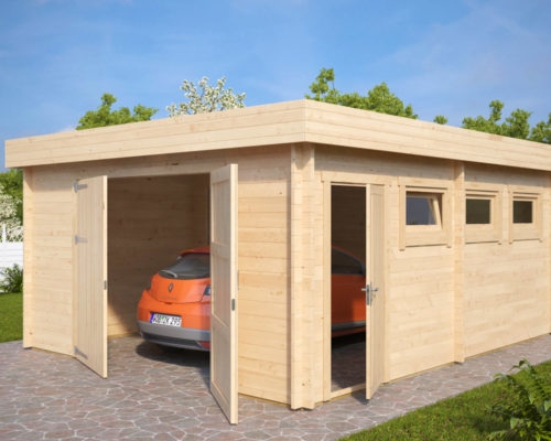 Large Timber Garage D with Double Doors