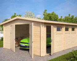 Large Wooden Garage Hansa B with Double Doors