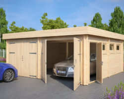 Modern Double Wooden Garage F with Flat Roof