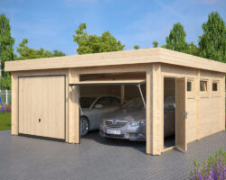 Modern Double Wooden Garage F with Up and Over Doors